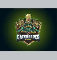 e sport logo with big armor vector image