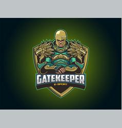 E sport logo with big armor vector