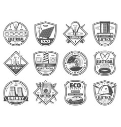 electricity service energy power industry icons vector image