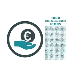 Euro Salary Hand Rounded Icon with 1000 Bonus vector image