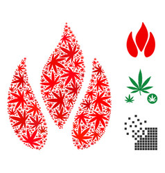 Fire composition of cannabis vector