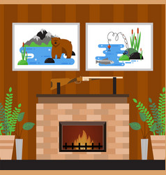 Fireplace at hunters home rifle and pictures on vector