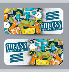 fitness and healthy lifestyle horizontal banner vector image