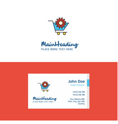 Flat cart setting logo and visiting card template vector