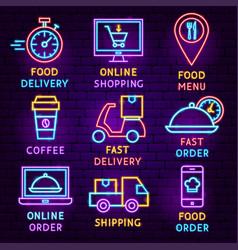 food delivery neon label set vector image