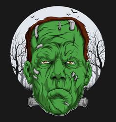 Frankenstein face over full moon scary halloween vector