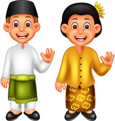 Funny boy and girl in malay ethnic clothes cartoon vector