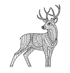 hand drawn deer silhouette vector image