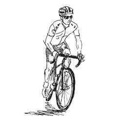 Hand sketch cyclist vector