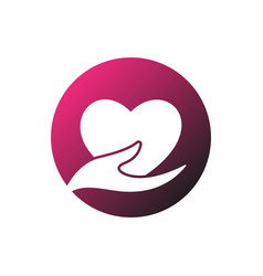 hand with heart logo charity love care vector image