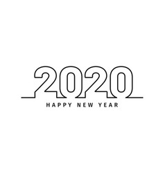 happy new year 2020 text design in line art style vector image