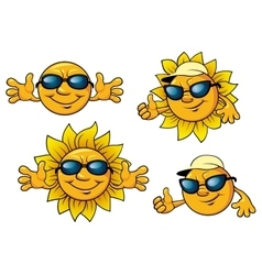 Happy sun characters in sunglasses vector