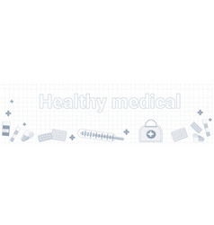 healthy medical word on squared background vector image