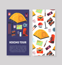 hiking tour card template with place for text and vector image