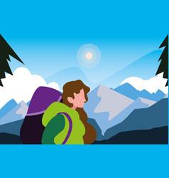 Hiking woman traveler landscape natural vector