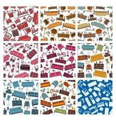 Home furniture elements pattern vector image