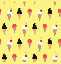 ice cream in wafer with topping yellow pattern vector image