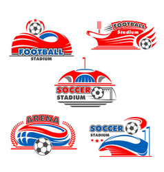 icons of soccer arena or football stadium vector image