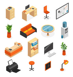 isometric office furniture icon set vector image