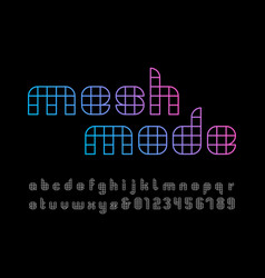 linear font alphabet with mesh effect letters and vector image