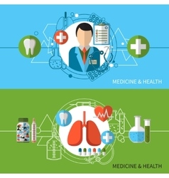 Medicine and health banners set vector