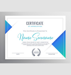 Minimal blue triangle certificate template design vector