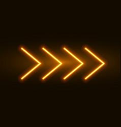 neon arrow sign light arrow retro glow vector image
