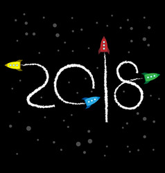 new year 2018 concept - cartoon rockets in space vector image