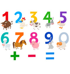 Numbers set with happy farm animals vector