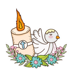 Paschal candle sacred with dove bird vector
