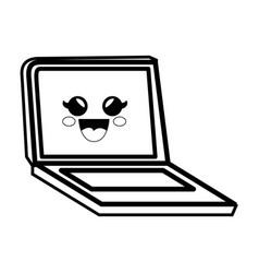 pc laptop cartoon smiley vector image