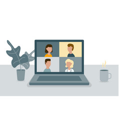 people connected together via video call on laptop vector image