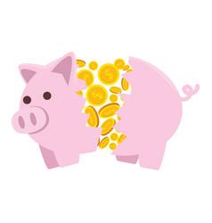 Piggy savings broken with coins money vector