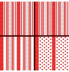 red striped heart patterns vector image