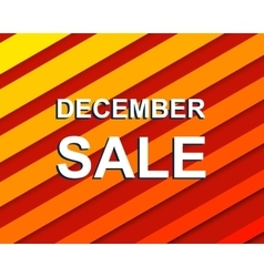 Red striped sale poster with decembe sale text vector