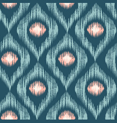 Retro ikat blue with pink pattern vector