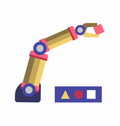 Robotic arm solving puzzle vector