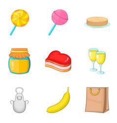 Romantic breakfast icons set cartoon style vector