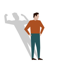 Satisfied businessman with muscular shadow behind vector