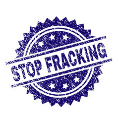 Scratched textured stop fracking stamp seal vector