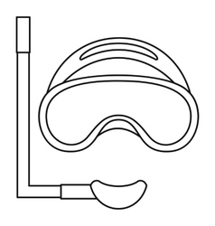 Scuba mask and snorkel icon outline style vector