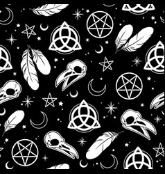 seamless depicting witchcraft and scandinavian vector image