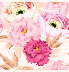 Seamless pattern with eustoma and ranunculus vector
