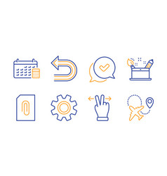 Service approved and calendar icons set undo vector