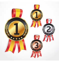Set medal numbers with ribbon vector