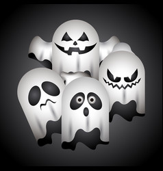 Set of halloween ghosts vector