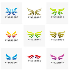 Set of wing logo color wing logo design concept vector