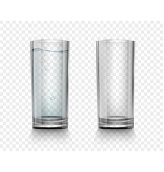 set realistic glasses with water and empty vector image