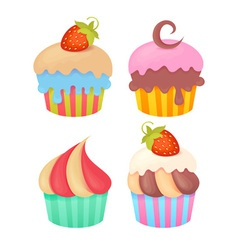 set tasty colorful muffins vector image
