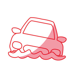 silhouette flooded car for danger weather vector image